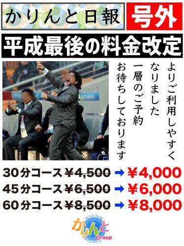 平成最後の料金改定